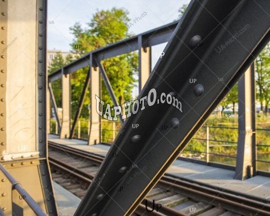 old metal bridge for railway transport and pedestrians in Basel,