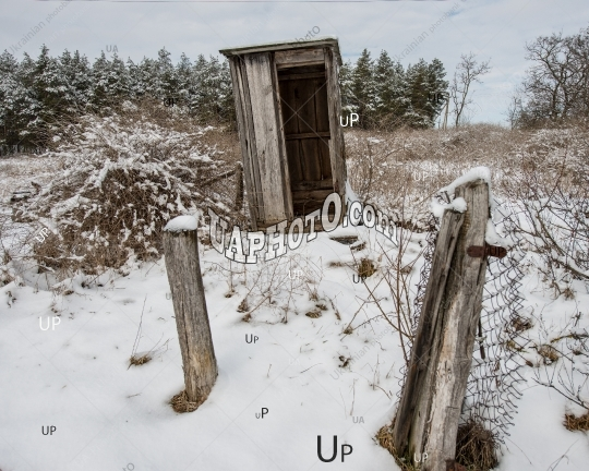 Old Wooden Toilet, Countryside. Spring Old Wooden Toilet, Countr