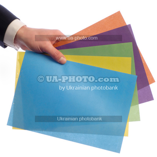 paper in  hand  different colors