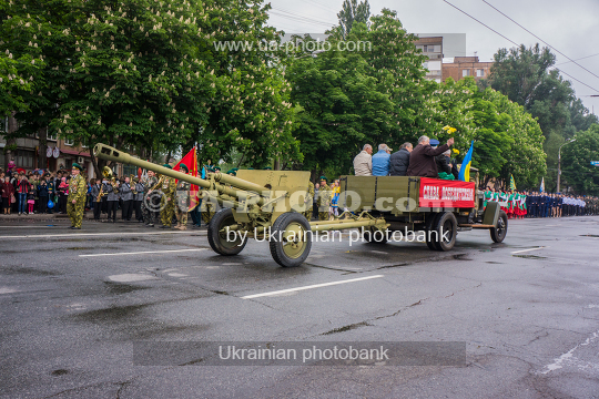 Parade of old military equipment.
