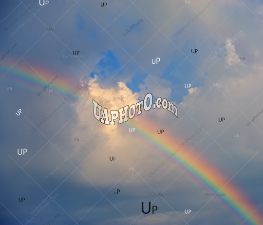 rainbow against the background of clouds.