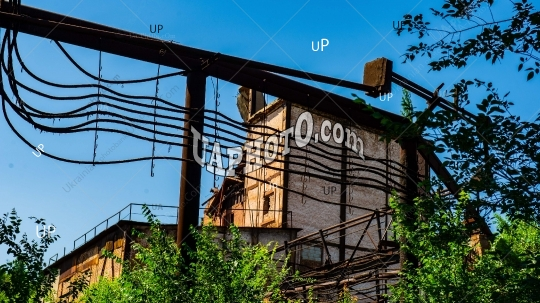 ruins of an abandoned industrial construction conveyor