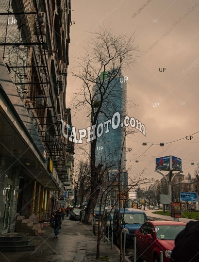 View of Basseynaya Street in cloudy weather.